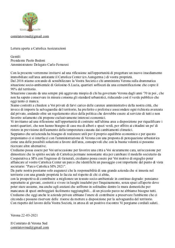 Lettera aperta a Cattolica Assicurazioni