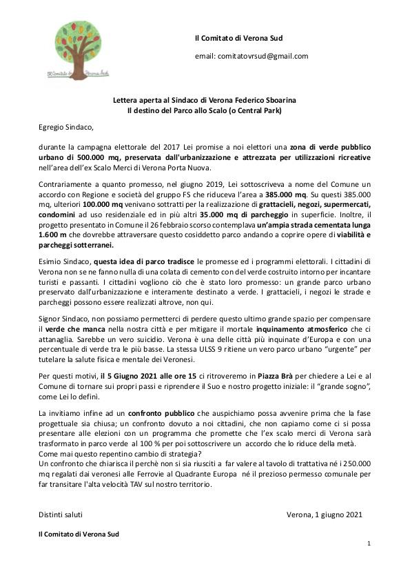 Lettera aperta al Sindaco di Verona Federico Sboarina. Il destino del Parco allo Scalo (o Central Park)